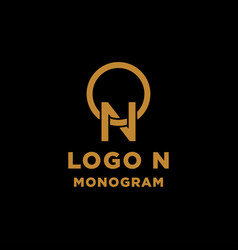 luxury initial n logo design icon element isolated vector image