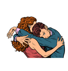 Man and woman embrace love wife comforting vector