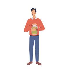 man hold savings in glass jar cartoon character vector image