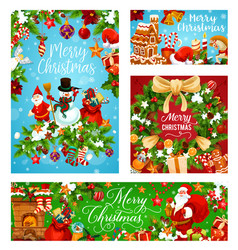merry christmas greeting card for winter holidays vector image