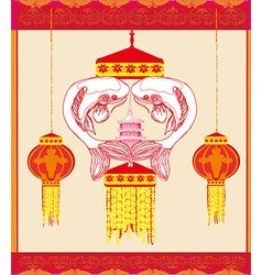 Mid Autumn Festival - koi fish card vector