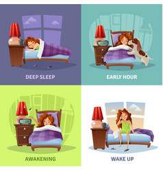 morning awakening 2x2 design concept vector image