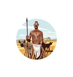 native citizen in wild nature vector image