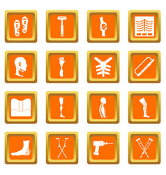 Orthopedics prosthetics icons set orange vector