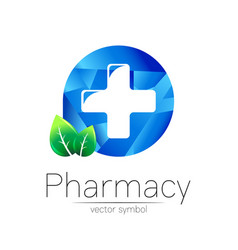 Pharmacy symbol cross in blue circle vector