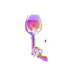 Pink shot drink revolver wine glass printing on vector