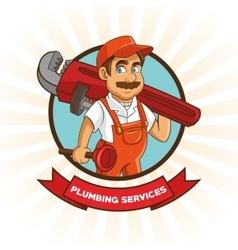 Plumbing service plumber cartoon design vector