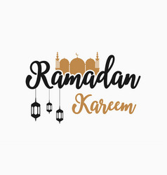 ramadan kareem text with mosque lanterns vector image