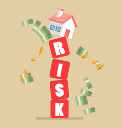 Real estate on shaky risk blocks vector