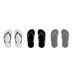 realistic flip flops mockup monochrome beach vector image