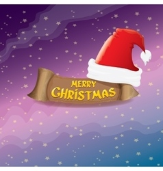 Red Santa hat greeting text Merry Christmas vector