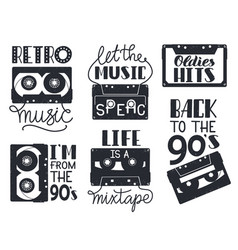 retro cassette lettering hand drawn 90s retro vector image