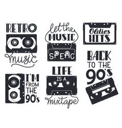Retro cassette lettering hand drawn 90s retro vector