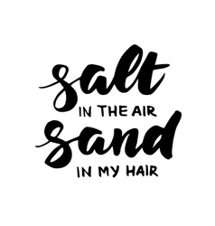 Salt in the air sand in my hair summer card vector image