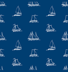 Seamless background outlines abstract sailing vector