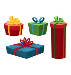 set gift boxes different shapes vector image