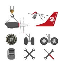 Set of aircraft parts on white background vector