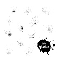 set of ink splash Hand painted background vector image