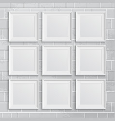 Set of square picture frames on brick wall vector