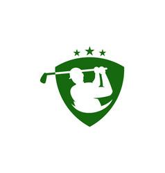 shield golf logo icon design vector image