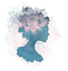 Silhouette Of Floral Woman vector image