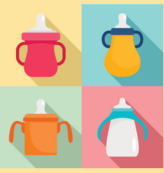 sippy cup icon set flat style vector image