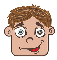 smiling boy head cartoon vector image