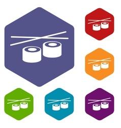 Sushi rhombus icons vector image