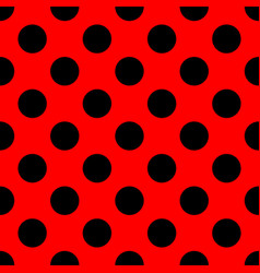 Tile pattern with black polka dots on red vector