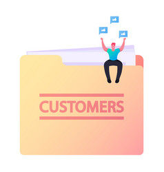 tiny character sit on huge folder with customers vector image