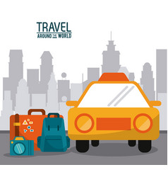 Travel around the world taxi car luggage photo vector
