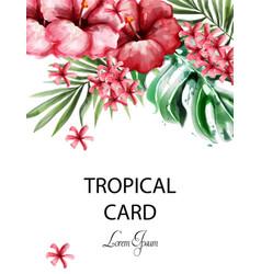 tropic flowers card watercolor delicate vector image