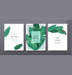 Tropical trendy greeting invitation card template vector