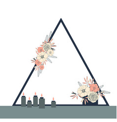Wedding triangle arch with flowers vector