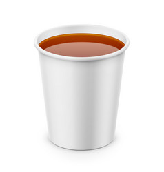 White paper cup with tea template vector