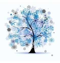 winter tree snowflakes christmas vector image vector image
