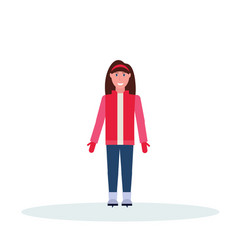 woman skater wearing winter clothes girl skating vector image