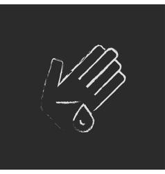 Wounded palm icon drawn in chalk vector image