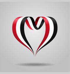 Yemeni flag heart-shaped ribbon vector
