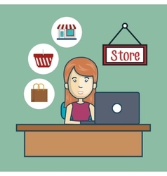 avatar woman and store commerce design vector image vector image