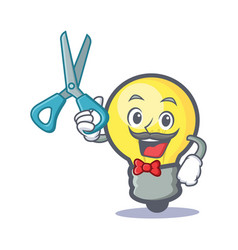 Barber light bulb character cartoon vector