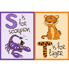 Children Alphabet with Funny Animals Scorpion and vector image
