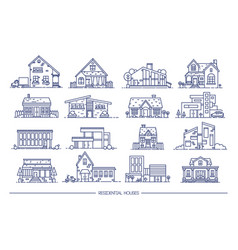 line art residential house collection set of flat vector image vector image