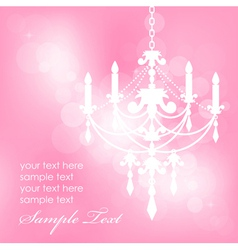 pink background with chandelier vector image vector image