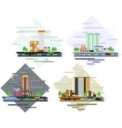 Urban and village landscapes vector image