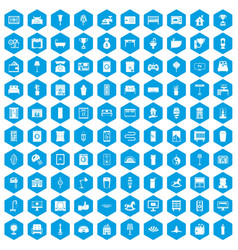 100 interior icons set blue vector image