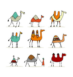 camel set sketch for your design vector image vector image