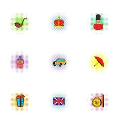 Country United Kingdom icons set pop-art style vector image vector image