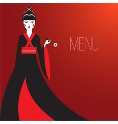 Oriantal femme fatale in a long black kimono with vector image