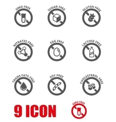 Black food dietary labels icon set vector